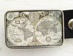 Vintage map belt buckle by bmused on Etsy