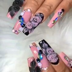 Discover new and inspirational nail art for your short nail designs. 3d Nail Designs, Nail Art Designs Videos, Nail Art Videos, Acrylic Nail Designs, Nail Design Video, Rose Nail Art, Floral Nail Art, Rose Nails, Nail Art Hacks