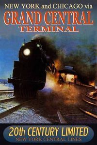 New York Central Railroad 20th CENTURY Train Poster -in 8 CITIES- Art Print 221