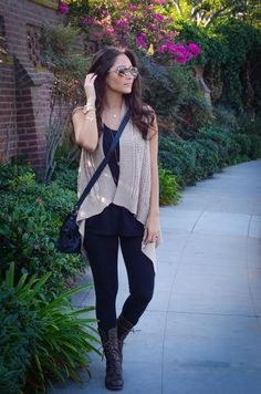 simple neutral layered outfit