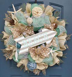 Beach/Summer deco mesh wreath