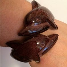 Dolphin bracelet expresso cafe dark brown wood Dolphin beach plastic hinged bangle bracelet in expresso dark wood like great for the beach babes and tanning beach bums Jewelry Bracelets