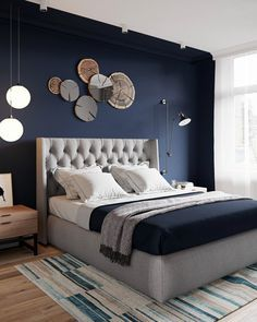Deco ideas for a modern master bedroom You can find Modern and more on our website.Deco ideas for a modern master bedroom Modern Master Bedroom, Trendy Bedroom, White Bedroom, Bedroom Sets, Bedroom Wall, Modern Bedrooms, Master Suite, Navy Blue Bedrooms, Budget Bedroom