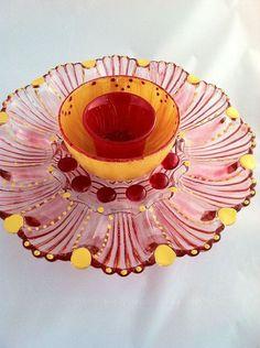 the secret to making glass garden art flowers, crafts, flowers, gardening, Glass Plate Garden Flowers from Plates2Petals com