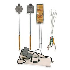 Outdoor Deluxe 12piece Fire Pit Cookout Kit Square Pie Iron Round Pie Iron Smore Maker 8 Picnic Forks Great Way to Enjoy Your Backyard Fire Pit or Campfire -- For more information, visit image link.