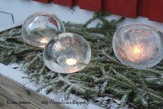 Liisan kotona: Jäälyhtyjä ilmapalloilla Cozy Christmas, White Christmas, Christmas Crafts, Christmas Decorations, Xmas, Snow Bar, Christmas Inspiration, Seasonal Decor, Holiday Parties