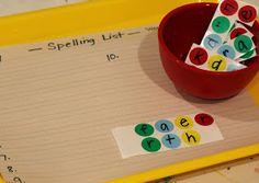 School Time Snippets: Dot Sticker Spelling Scramble {Fine Motor Friday}