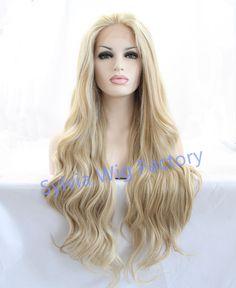 Natural look vintage loira peruca longa perucas onda solta Brasileiro cabelo peruca dianteira do laço sintético resistente ao calor Do Cabelo Sintético
