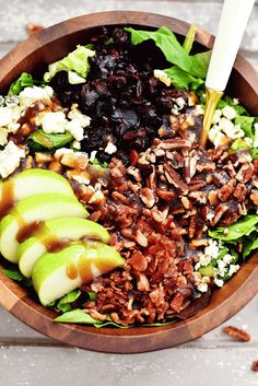 Slices of apple, lots of bacon and Gorgonzola are what make this salad incredible!