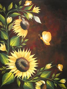 Sunflowers Painting by Monica Bhattacharya - Sunflowers Fine Art Prints and Posters for Sale