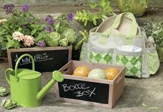 Tag Green Garden Wooden Storage Bins with Chalkboard Side, Set of 2