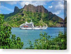 A half freighter half cruise ship vessel anchored in Puamau Bay, on the northeastern coast of the island Hiva Oa, one of the seven Marquesas Islands. #marquesas #aranui
