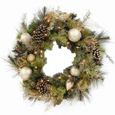 """Artificial Christmas Wreaths   Pre-Lit 32"""" Decorated Artificial Christmas Wreath - American Sale"""