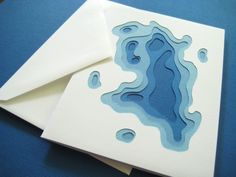 Topography in Royal - One handcut card