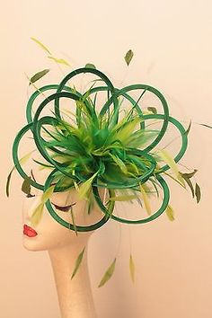 Emerald Green & Lime Fascinator hat/choose any colour satin/highlight feathers
