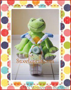 {Tutorial} Frog-Motorcycle Diaper Cake-Baby Shower Gift