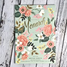 The prettiest writing pad you've ever seen. Rifle Paper Co. has done it again with this mint Monarch lined writing sheet. Pretty Writing, In Writing, Rifle Paper Co, Papers Co, Inspirational Gifts, Birch, Mint, How To Make, Peppermint