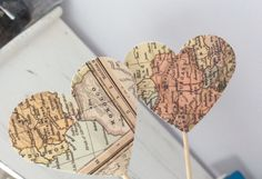 Map Cupcake Toppers Atlas Travel Graduation Bon Voyage Weddings Showers Gift…