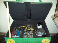 Dramatic Play car engine from cardboard box