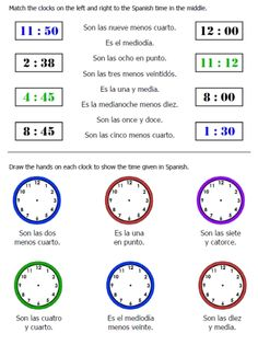 time worksheet spanish -- FREE to print | SPANISH Learning ...