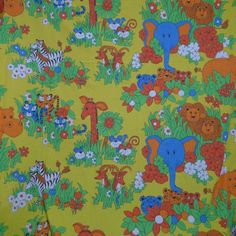 Cannon-Monticello-Twin-Sheet-Set-Mod-Jungle-Animals-Zoo-Colorful-Cutter-Fabric