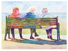 "Seaside bench by Graham Berry Watercolor ~ 12"" x 16"""