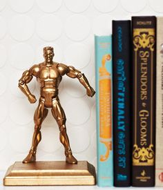 Make book ends out of painted action figures. This is a fun idea!