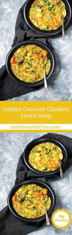 Golden chicken lentil soup made with creamy light coconut milk, turmeric, ginger, garlic, and cumin. Delicious flavors; this soup will be your new favorite!