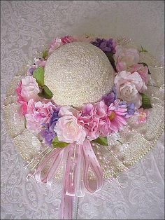Easter Bonnet door hanging by catrulz Tea Hats, Tea Party Hats, Easter Hat Parade, Lingerie Fine, Enchanted Rose, Hat Crafts, Fancy Hats, Easter Crafts, Floral Wreath