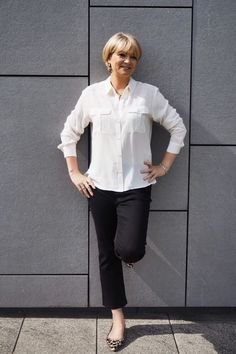 A simple silk shirt and cropped kick flares for a dressed down day at the office