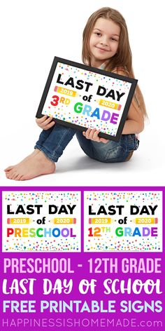 Free Printable Last Day of School Signs - Looking for Free Printable Last Day of School Signs for the end of school? We've got you covered with these super cute last day of school signs for ALL grades – preschool through college! Pre K Graduation, Kindergarten Graduation, Kindergarten Writing, First Day School, End Of School Year, School Days, School Stuff, Free Printable Certificates, Free Printables
