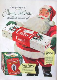 Vintage Christmas Cigarette Ads Once upon a time cigarettes were considered cool and the thing to do. Cigarettes were Santas Vintage, Pub Vintage, Vintage Santa Claus, Vintage Style, Vintage Decor, Old Advertisements, Retro Advertising, Retro Ads, Retro Christmas