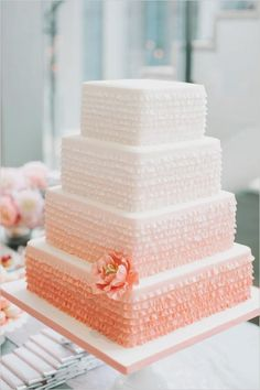 peach ombre wedding cake by Bobette & Belle