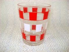 Vintage Red and White Checked Bar Glass - Great for Retro Kitchen - Swanky Swig