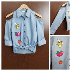 Buy yours today: Patched - Denim C..., visit http://ftfy.bargains/products/patched-denim-cold-shoulder-shirt-with-front-knot-banana-strawberry?utm_campaign=social_autopilot&utm_source=pin&utm_medium=pin  #amazing #affordable #fashion #stylish