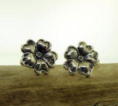 Flower Earrings  sterling silver post earrings by KathrynRiechert