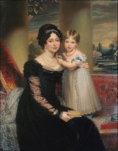 The Duchess of Kent with her daughter, the future Queen Victoria- what a sweet picture.