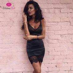 31c952bb1 WannaThis 2017 Summer Dress Women Sexy Bodycon Lace Dress Solid Sleeveless  Halter Party Dresses Robe Femme Vestidos De Renda-in Dresses from Women s  ...