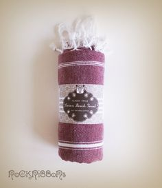 Large beach turkish towel in maroon cotton with stripes and twisted fringe - Free Shipping.