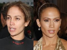 JLo without & with makeup Beauty Makeup, Hair Makeup, Hair Beauty, Jennifer Lopez, Penelope Cruz Makeup, Makeup Photoshop, Celebs Without Makeup, Pinterest Makeup, Pinterest Pinterest