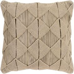 Surya Migramah Wide Square Solid Pattern Cotton Covered Down Fille Tan Bedding Pillows Throw Throw Pillow Covers, Throw Pillows, Owl Pillows, Burlap Pillows, Cushion Covers, Bed In Living Room, 3d Texture, Macrame Patterns, Square