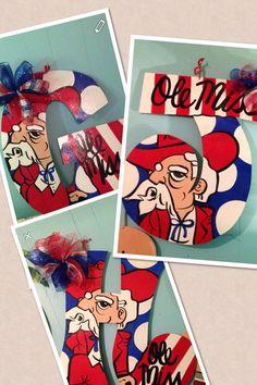 Ole miss rebel initial doorhanger the by TheFunkyZebraDesigns, $45.00
