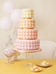 Spring pastel macaron wedding cake