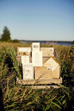 I love this multi-level box outside for a rustic invitation!