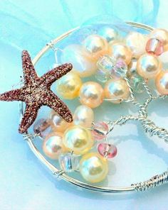 2014 peal trees beach wedding necklaces, starfish beach wedding necklaces.