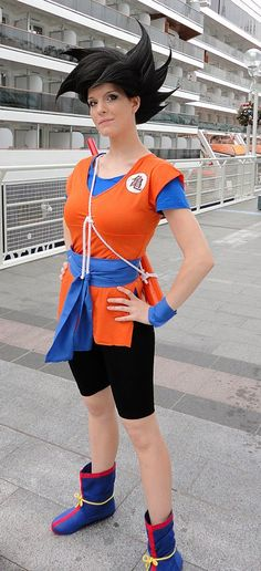 Dragonball Z Goku Cosplay. I could totally do this if I had the boots. And a magician to beat my hair into submission.