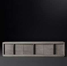 RH Modern's Bezier Closed Media Collection- Grey / Pewter Aluminum  (MODCASE15)