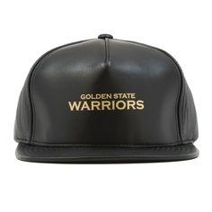 689a7dce346 Golden State Warriors Gold Foil Lambskin Leather Snapback Hat Black
