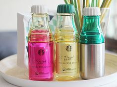Korea Starbucks Summer sunny Water bottle red&yellow yellow&clear silver&Green