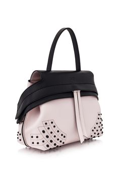 Tod's Mini Wave Bag Black, Powder Pink - TOD'S Tods Bag, Candy Bags, How To Make Handbags, Powder Pink, Beautiful Bags, Fashion Wear, Leather Bags, Fashion Backpack, Eye Candy